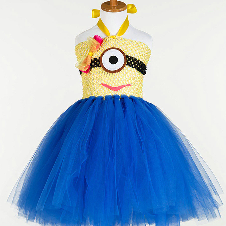 fashion high quality kids cartoon pattern blue tutu baby girls party dress kids 2 to 12years old<br><br>Aliexpress