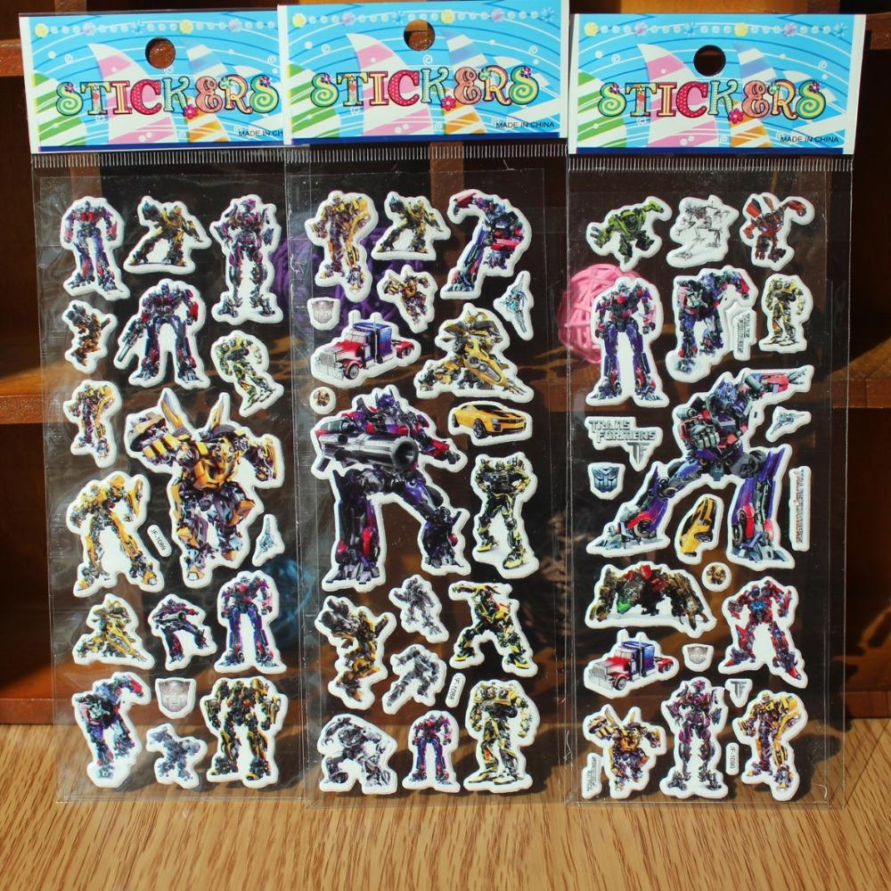 reward stickers 10PCS Mixed cartoon bubble wall stickers 3D Transformers toys / children's cartoon bubble stickers decoration(China)