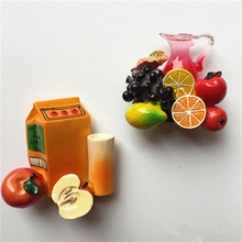 Simulation of creative hand-painted Fruit Juice Drinks 3D Resin Fridge Magnet Home Decoration Refrigerator Magnetic Stickers