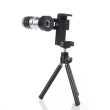 Metal Universal 12X Zoom Telephoto Lens Clip Detachable Portable Phone Camera Kit with Tripod for iPhone Samsung all Smartphone(China)