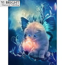 "5D DIY Diamond Painting Cross Stitch ""Cat Look Light"" Full Round Diamond Embroidery Painting Needlework Rhinestone Crafts SY(China)"