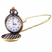 1Pcs Vintage Playing Poker Cards Shape Necklace Quartz Pocket Watch Chain Pendant Necklace Xmas Gift(China)
