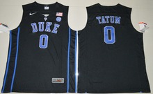 2017 NIKE Duke Blue Devils Jayson Tatum 0 V Neck College Authentic Ice Hockey Jersey - Black Size S M L XL 2XL 3XL(China)