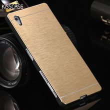 KISSCASE Aluminum Case For Sony Z5 Luxury Slim Metal Brush +PC Back Case for Sony Xperia Z5 Hard Back Protective Phone Cover