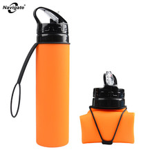 Navigate Folding My Drinking Bottle 500 Ml Outdoor Silicone Sports Water Bottle Bicycle 600ml Creative Portable H2o Bottles(China)