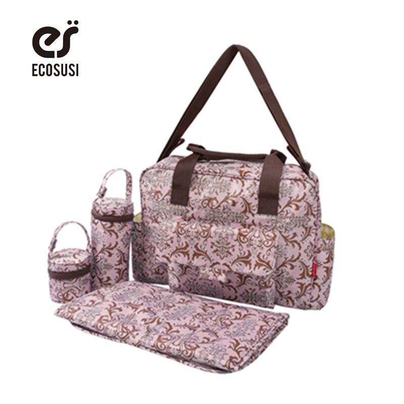 ECOSUSI 5 Pcs Baby Diaper Bag Nappy Changing Pad Stroller Bag Mummy Bags Just Yet For Baby Mom Shoulder Bag Maternity Handbag<br><br>Aliexpress
