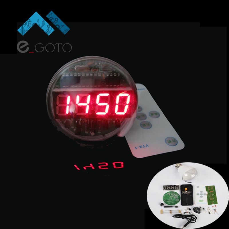DIY Memory 5-way Alarm Clock Kit Lamp Bulb Shape LED Time Screen Display Electronic Circuit Suit + Remote Control(China (Mainland))