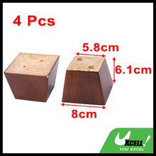 Home Wooden Furniture Cabinet Chair Couch Sofa Legs Feet Replacement Brown 4pcs(China)