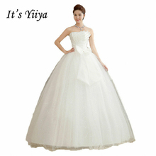 It's Yiiya Plus size Strapless Crystal Bow Princess Wedding Dresses Floor Length Cheap White Bride Gowns Vestidos De Novia HS106(China)