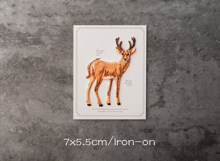 Natural Deer Standing Right Iron on Applique//Embroidered Patch