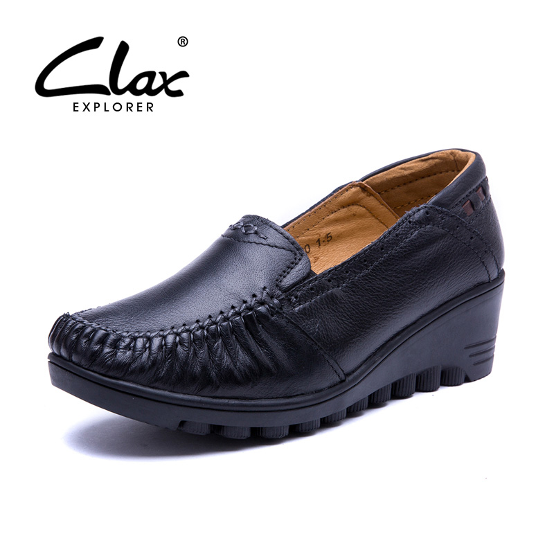 CLAX Women Leather Shoes Pumps 2017 Summer Autumn Shoe Lady Genuine Leather Loafer Vintage Retro Casual Shoe Wedges Heels 5CM<br>