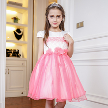 Nimble Summer Autumn Princess Girls Dress Vestidos for Wedding Party Handmade Pearls Flowers Dress for Girls vestido infantil