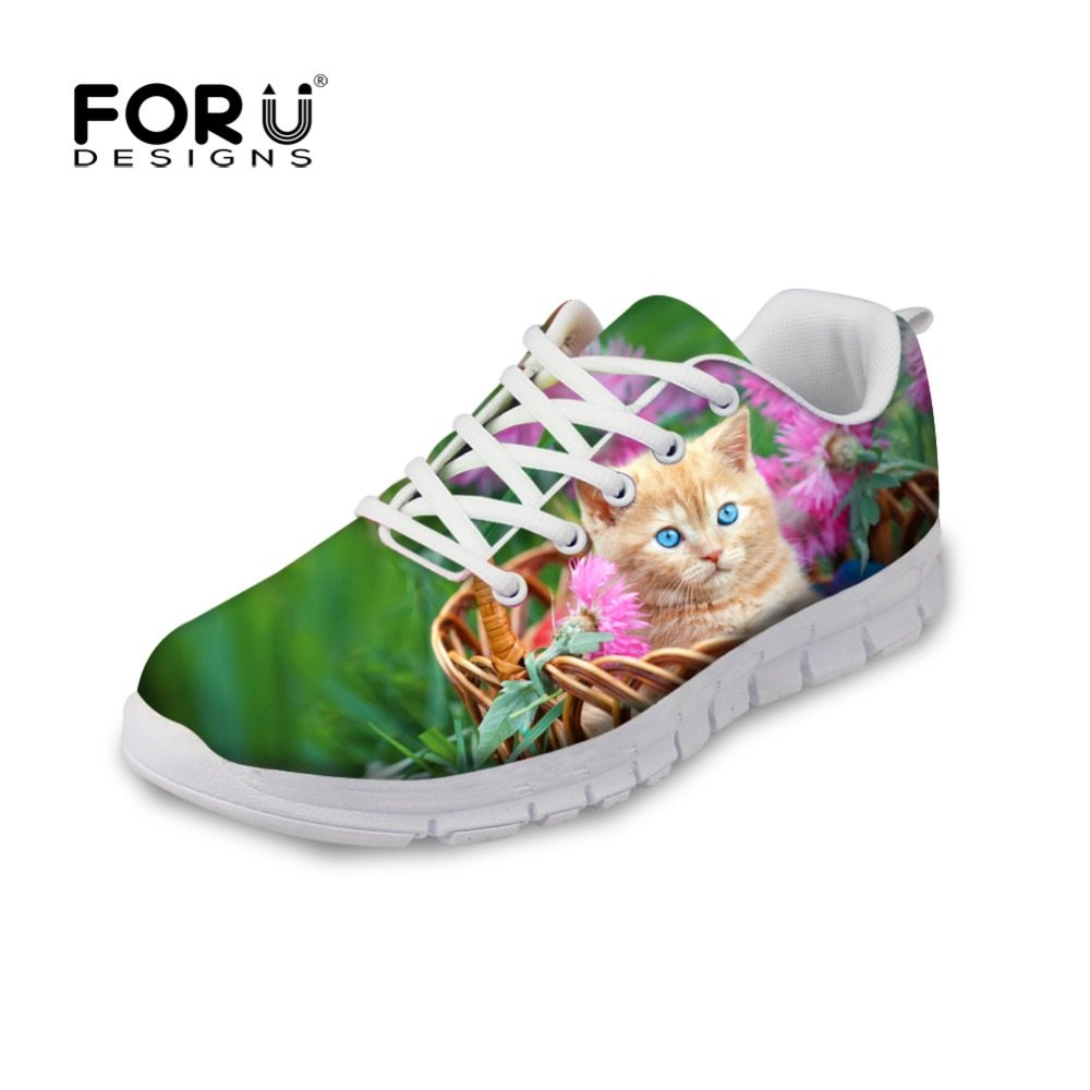 FORUDESIGNS Casual Flat Shoes Woman Fashion 3D Cute Animal Cat Pattern Women Lace-up Light Leisure Shoes Flats for Ladies Mujer <br>