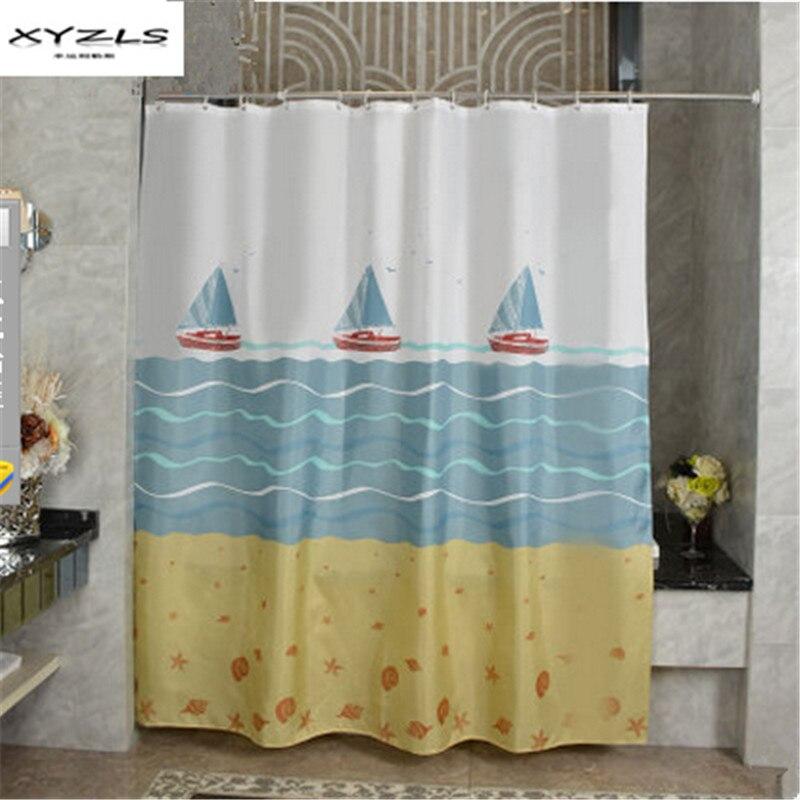XYZLS 2017 Modern Polyester Bath Curtains Sail Boat Printed Waterproof  Shower Curtain Bathroom Products Cortina Ducha