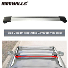 Ironwalls 1pc 93cm~99cm Car Roof Rack Cross Bar Top Luggage Cargo Carrier With Lock System For Most Vehicles Raised Side Rails(China)