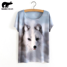 2017 Summer New Tshirt Batwing Sleeve Loose Women T shirt Littele Fox in Snow Printed Tees free shipping(China)