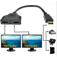 HDMI V1.4 2 Port Y Splitter Converter 1080P HDMI v1.4 Male to Dual Female Adapter Cable 1 In 2 Out HDMI Connect Cable Cord