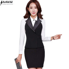 OL slim work wear women black vest skirt suit formal slim office uniform business plus size suits
