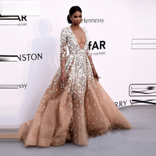 2016  New Fashion evening dress  V-Neck Long Sleeve Robe De Soiree White Appliques Chapel Train Celebrity Red Carpet Dress(