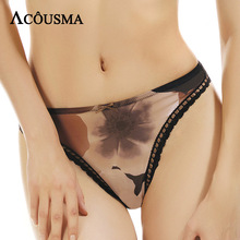 Buy ACOUSMA Women Sexy Panties Floral Print G-String Seamless T Back Thongs Bowknot Cotton Cortch High Quality Comfortable 2 Colors