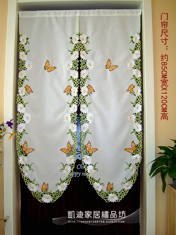 media cortina de la mariposa margarita bordada cenefa particin cortina moda para cocina puerta del armario