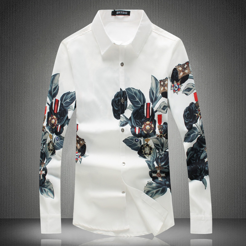 High Quality White 5XL Shirts for Men 2019 New Fashion Flowers Design Shirt Long Sleeve Slim Fit Male Clothing M-XXXXXL #18118