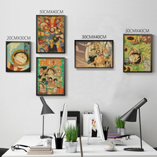 Vintage Retro anime poster anime Posters Uzumaki Naruto Poster Luffy wanted One Piece Bar Cafe Home Decor Wall Sticker