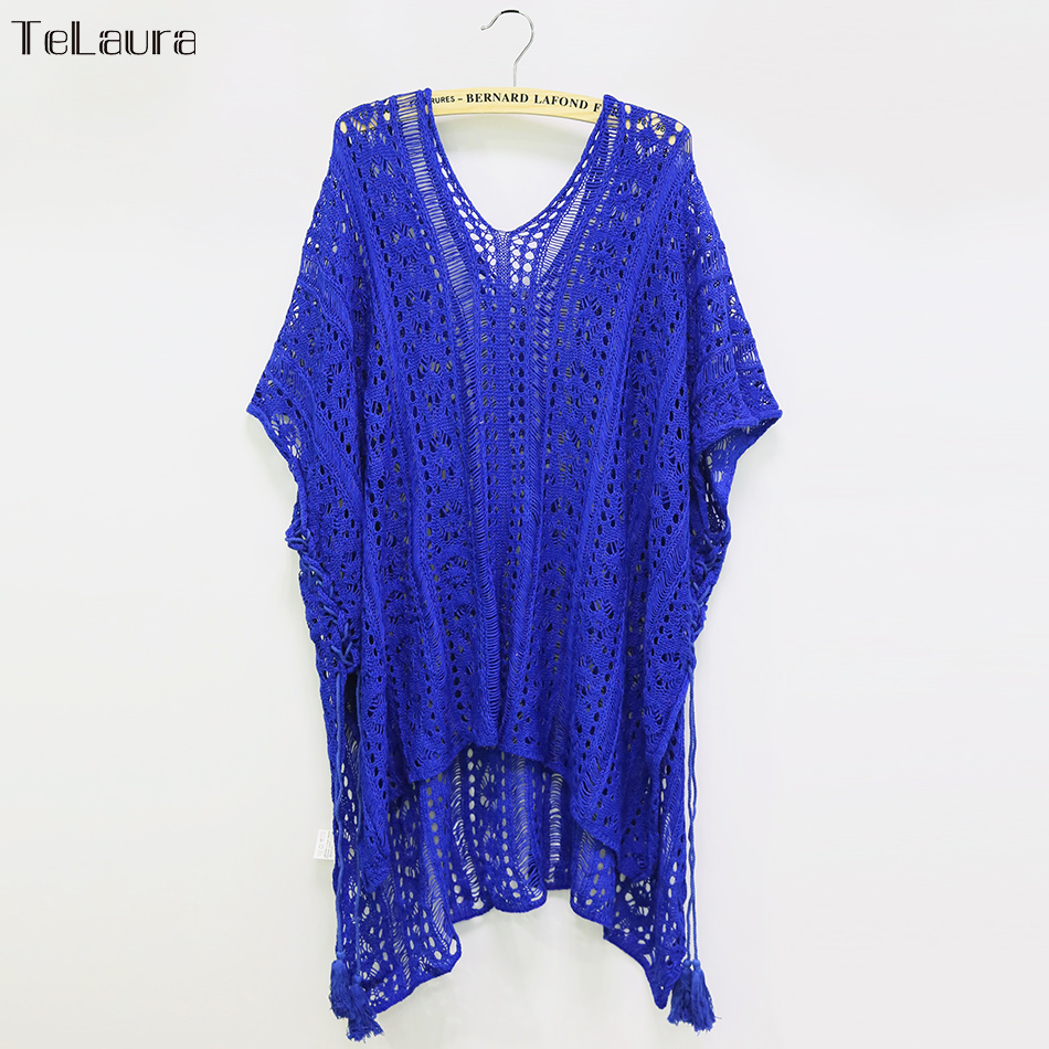 2018 New Beach Cover Up Bikini Crochet Knitted Tassel Tie Beachwear Summer Swimsuit Cover Up Sexy See-through Beach Dress 20