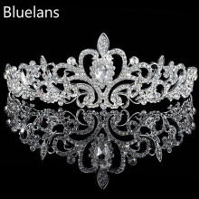 Wedding Bride Crown Headwear Shiny Rhinestone Tiaras Head Pin Hair Ornamen Jewelry Accessories Hairpins for Women Christmas Gift(China)