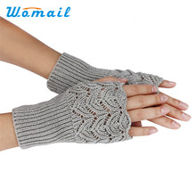 Womail Newly Design Women's Warm Winter Brief Paragraph Knitting Hollow Half Fingerless Gloves 160114 Drop Shipping