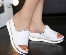 Fashion ! 2015 women leather sandals and slippers women platform sandals shoes wedges platform shoes with comfort in Korea(China)