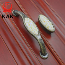 KAK Unique Crack design Antique Handles solid Zinc Alloy Ceramic Drawer Wooden Jewelry Box knobs handles pull Furniture Hardware