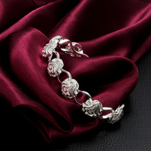 High Quality 925 Sterling Silver Rose Flower Link Cuff Bracelet Bangle Women Fashion Jewelry Wedding Lover Gift(China)