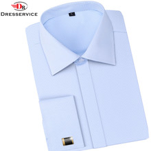 DRESSERVICE Men French Cufflinks Shirt New Men's Shirt Long Sleeve Casual Male Brand Shirts Slim French Cuff Dress Shirts