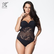 One Piece Swimsuit 2017 Plus Size Swimwear Women Vintage Retro Lace Push Up Bathing Suit Beach Wear Swimming Suit For Women 6XL(China)