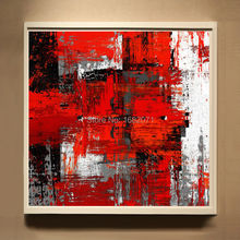 Strong Painter Team Supply High Quality Abstract Oil Painting On Canvas Handmade Red And White Oil Painting For Wall Decorative(China)