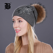 [FLB] Winter fur pompom hats for women cashmere wool cotton hat Big Real Raccoon fur pompom Beanies cap Fox fur bobble hat