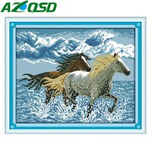 AZQSD Running horses 11CT&14CT Counted Cross Stitch Kits Home Decor Handmade Embroidery Cross Stitch Sets d544y