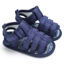 2017 Summer Baby Simple Style Casual Hollow Shoes Male Soft Canvas Sandals Baby Toe Cap Covering Boys Soft Soled Sandals 3 Color(China)