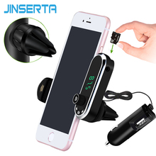 JINSERTA Hands Free Wireless Bluetooth FM Transmitter TF AUX Modulator Car Kit MP3 Player Air vent Holder Stand Car Phone Holder(China)