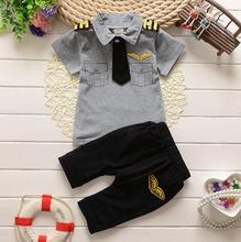 2017 clothes suits children baby boys summer clothing sets cotton kids tie gentleman outfits child short sleeve tops t shirt