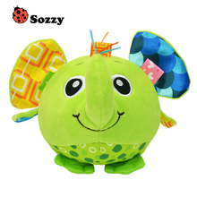 Baby animal modeling ball Cartoon Baby plush Ball toys colorful soft bell Toy Educational Hand Grasp Ball