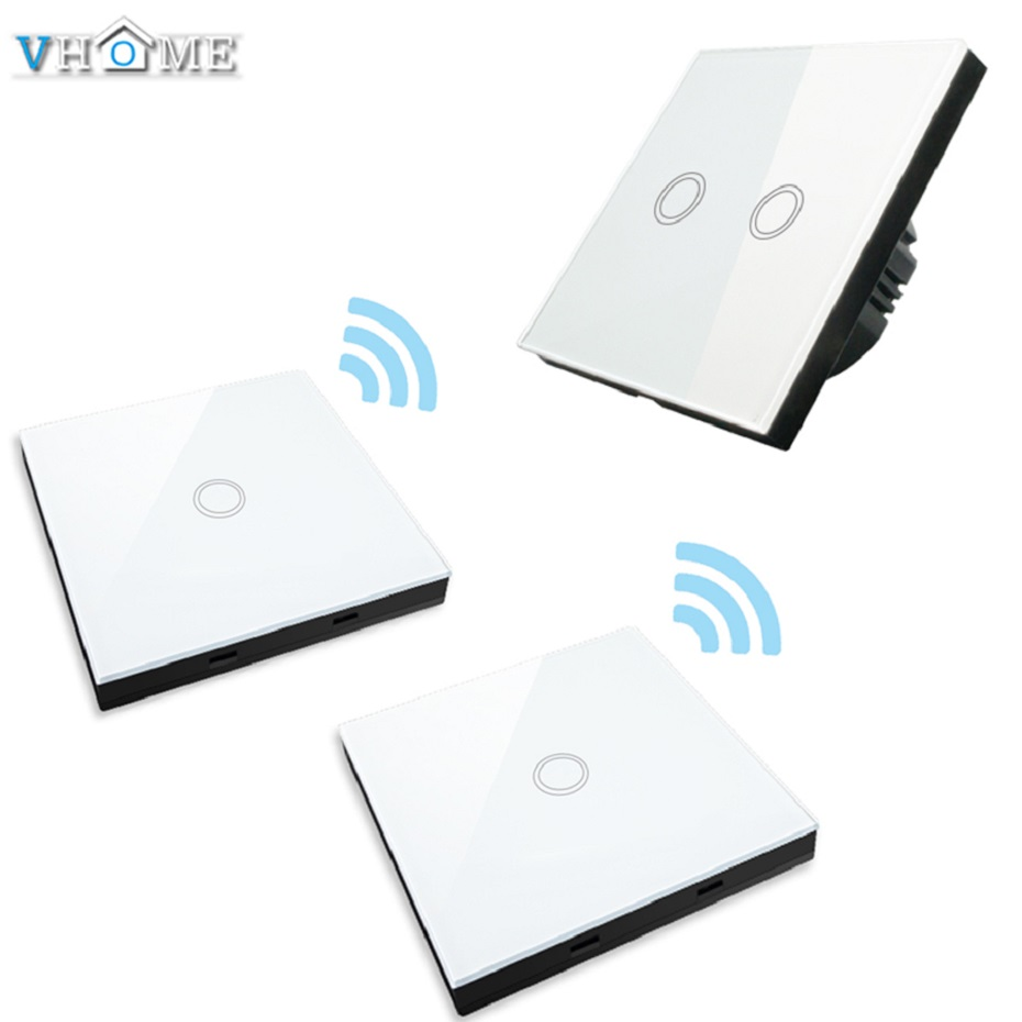 Vhome EU/UK smart home touch switch  wall stickers remote control transmitter  RF433mhzwall light crystal glass panel &amp; 2<br>