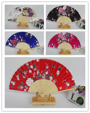 "7"" Portable Elegant Folding Women Silk Hand Fan Wedding Party Favor Crafts Gift Japanese style Floral Dance Show Props Fans"