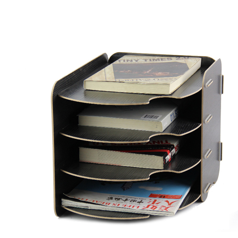 DIY Office Curved Design  Wood Stationery Holder 4 Layer A4 File Organizer Book Stand Magzine Holder Wooden Desktop File Tray<br>
