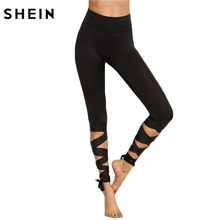 SHEIN women high waist fabric leggings leggings ladies thick patterned cotton leggings(China)