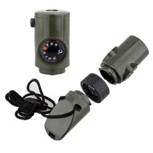 7 in 1 Multi Function Whistle Compass Thermometer Flashlight Magnifier Outdoor Camping Rescue Emergency Survival Kit Tools Set