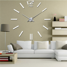 Large Wall Clocks DIY 3D EVA Wall Sticker Clock Mirror Effect Luxury Art Watch Metal Clock Mechanism Horloge(China)