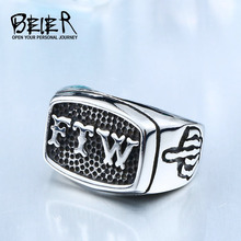 BEIER New Store FTW Punk Mechanical Screw Mens Motor Biker Exquisite Stainless Stee Motorcycle Ring Dropshipping BR8-420(China)