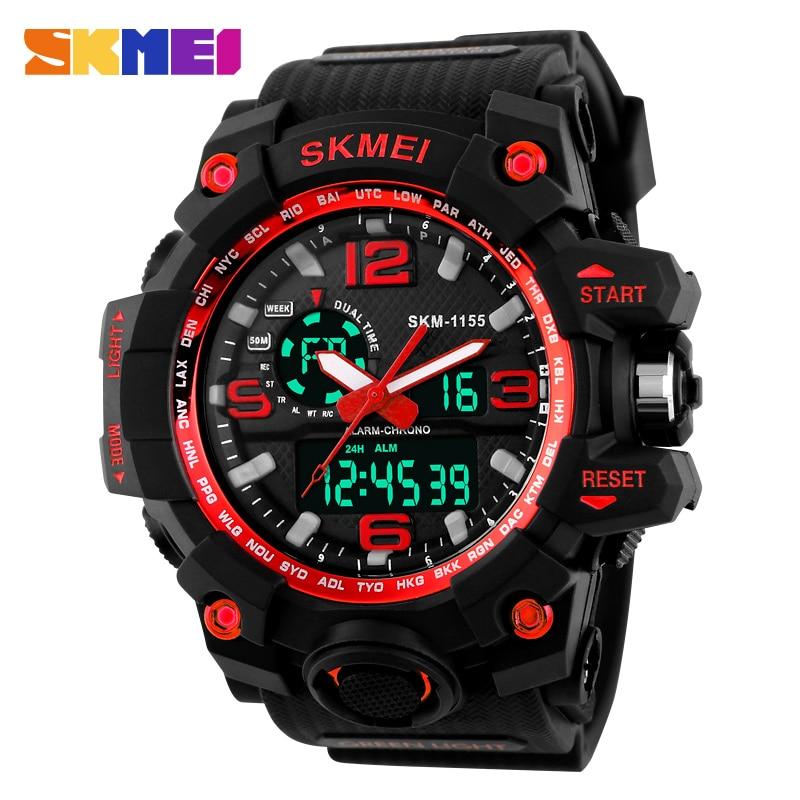 SKMEI 1155 Fashion Men Digital LED Display Sport Watches Quartz Watch Relogio Masculino 50M Waterproof Dual Display Wristwatches<br><br>Aliexpress